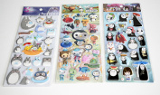 Puffy Sticker Decals , 3D style stickers sheet set of three, My Neighbour Totoro And Friends