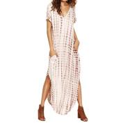 Women Dress, Familizo Women Dye Print Side Split Loose Long Dress