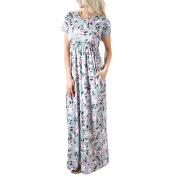 Women Dress, Familizo Summer Floral Printing O-Neck Long Dress
