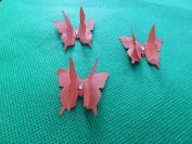 mums butterflies 10 3D red plus diamonte 3cm x 3cm