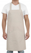 Deconovo Solid Recycled Cotton Butchers Apron with Pockets Kitchen Apron for Kids 80cm Length by 70cm Width Beige