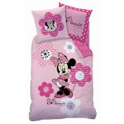 Bed Linen Set (2pcs) – Minnie Mouse Pink Flowers Printed Single Duvet Cover (140cm x 200cm) + Pillowcase