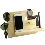 Lemo hand -Wooden Phone Docking Station with Key Holder, Pen Holder, Wallet and Watch Organiser Men's Gift YYHD12