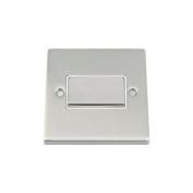Fan Isolator 3 Pole Switch - Satin Matt Chrome Square - White Insert Metal Rocker Switch