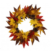 Sansee 20/35CM Pine Fruit Maple Leaf Fall Door Wreath Door Wall Ornament Thanksgiving /Halloween Festive Decoration
