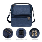 Insulated Lunch Bag Dual Compartment Cooler Tote Bag, Waterproof Large Capacity Insulated Tote Bag Blue