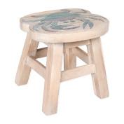 Blue Crab Design Hand Carved Acacia Hardwood Decorative Short Stool