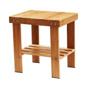 IPOW Multifunctional Medium Size Bamboo Step Stool Seat w/ Storage Shelf For Kids Leisure Assembly Needed,Durable,Anti-Slip,Lightweight for living room,bedroom,garden etc,Bonus Foot Pads