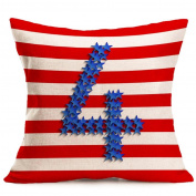 4th of July INDEPENDENCE DAY Vintage American Flag Pillow Cases Woaills Cotton Linen Sofa Cushion Cover Home Decor