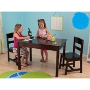 Rectangle Shaped Set of Table and Chairs For Children, Espresso Colour, Suitable For Age of 5 to 8 Years, Made of Wood, Comfortably Designed, BONUS E-book