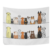 Cartoon Dogs Front and Back Polyester Family Decor Tapestry Horizontal Wall Blanket 200cm x 150cm Room Ornaments