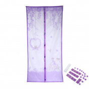 OHTOP Hands Free Summer Magnet Anti-Mosquito Mesh Curtains Soft Yarn Door Window Screen 100cm x 210cm