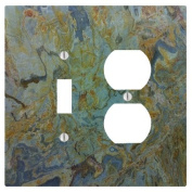 Tropical Green Granite Printed 2 Gang, 1 Toggle, 1 Electrical Outlet Wall Plate