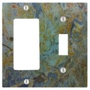 Tropical Green Granite Printed 2 Gang Toggle / Decorator Dimmer Wall Plate