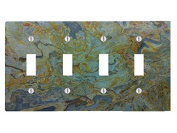 Tropical Green Granite Printed 4 Toggle Electrical Switch Wall Plate