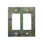 Tropical Green Granite Printed 2 Gang Decorator Dimmer Wall Plate