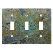 Tropical Green Granite Printed 3 Toggle Electrical Switch Wall Plate