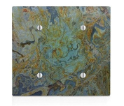 Tropical Green Granite Printed Double Blank Electrical Switch Plate