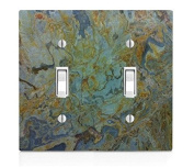 Tropical Green Granite Printed Double Light Switch Plate