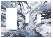Blue White Marble Printed Texture Pattern 3 Gang, 2 Toggle, 1 Dimmer, Decorator Electrical Switch Wall Plate