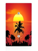 Tropical Beach Ocean Sunset Single Blank Electrical Switch Plate