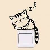 Sleeping Cat Switch Sticker Removable Wall Stickers Art Decor Vinyl Decals Kids Child Room Mural