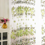 Large Size Panel Fabric Flower Sheer Tulle Window Curtain Voile Drape Valance Home Decor