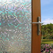 3D Mosaic Window Film Decorative Privacy Window Film Frosted Stained Glass Window Film Window Sticker Glass Film Window Decals No-glue Static Window Clings for Home Office