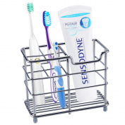 Toothbrush Holder, Aiduy Toothpaste Holder Stand Bathroom Storage Organiser Rack for Vanity Countertops - Stainless Steel