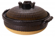 Spiceberry Home Handcrafted Stoneware Donabe Covered Casserole, Black and Tan