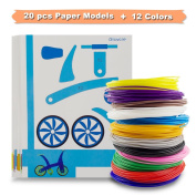 3D Printer Filament, SHONCO 12PCS 1.75mm PLA Filament Refills Material With 20PCS Different 3D Plastic Paper Models Stencils for Kids Adult Games in Practise of 3D Doodling Painting Drawing Pen