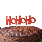 Hohoho Christmas Cake Topper - Glittery Red