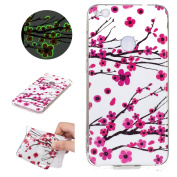 Sycode Luminous Case for Huawei P8 Lite 2017,Scratch-Resistant Bumper Cover for Huawei P8 Lite 2017,Fashion Cool Creative Unique Special Glow in Dark Green Fluorescent Effect Soft Gel Silicone Case for Huawei P8 Lite 2017 Beautiful Romantic Rosa Plum B ..