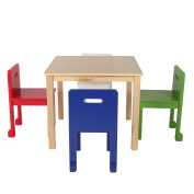 Max & Lily Natural Wood Kid and Toddler Square Table Set with 4 Coloured Chairs