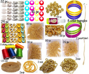 AM Silk Thread Jewellery Making Kit, 50 Pair Jhumka Earring Base, Materials, , All Items Set With Silk Thread