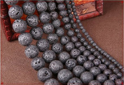 2 Strand Black Lava Gemstone Loose Beads Round 8MM for Jewellery Making DIY Bracelet Necklace