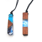 Sparklelife 2 PCS Women Men Necklace Handmade Vintage Resin Wood Statement Necklaces Long Rope Wooden Pendants Necklace Jewellery Birthday