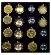ALL in ONE 12Sets Zodiac Sign Cabochon Frame Setting Tray Pendant with Clear Glass Dome for DIY Jewellery Making