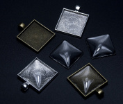 ALL in ONE 20pcs Mixed Cabochon Frame Setting Tray Pendant for DIY Jewellery Making