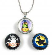 "Chunk Snap Charm Halloween Pendant Set Includes Pendant 18"" Stainless Steel Chain and All 20mm 3/4"" Diameter Snaps Shown-Bundle of 5 Items"