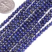 "GEM-inside Natural 3mm Round Smooth Lapis Lazuli Gemstone Beads For Jewellery Making Strand 15"""