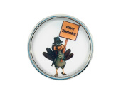 "Chunk Snap Charm Thanksgiving Turkey Give Thanks 20mm, 3/4"" Diameter"