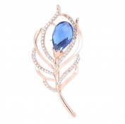 Hosaire Brooch Pin Elegant Feather Scarf Pin Rhinestones Crystal Breastpin for Wedding/Banquet/Bouquet Christmas Gift