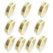 10 Rolls 0.3MM Gold Colour Versatile Copper Wire Jewellery Making Wire & DIY (CO-0107-03)