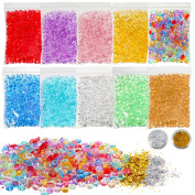 Shappy Fishbowl Beads Glitter for Slime, 10 Pack Multi Coloured Handcraft Vase Filler Beads, DIY Art Craft for Homemade Slime, Wedding and Party Decoration