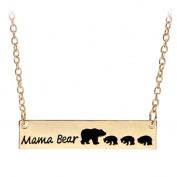 TraveT Gold Cute Family Love Mama and Baby Bear Necklace Bar Necklace Mother's Day Gift Sweet Gift for Mom 1pcs