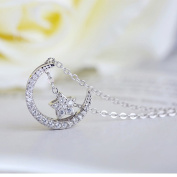 TraveT White Zircon Star Moon Necklace Fashion Jewellery For Women