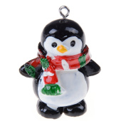 Ioffersuper 1 Pcs 3D Christmas Charm Pendant Resin Pendant Beads,Penguin