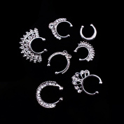 SuZhi 7PCS Septum Fake Nose Ring Women Crystal Faux Nose Rings Non-Piercing Jewellery Clip On Clicker - Gift Choice