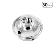 30pcs/Pack 4cm Smooth Surface Jingle Bells DIY Craft Pendant for Christams Decoration Key Accessories-Silver